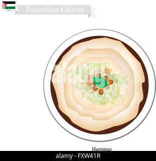 Palestinian Cuisine, Hummus or Traditional Spread Dip or Spread Made Form Chickpeas, Farlic, Tahini and Olive Oil. - Stock Photo