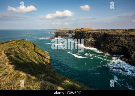 Cliffs of Kilkee in County Clare along the Wild Atlantic Way on the West Coast of Ireland - Stock Photo