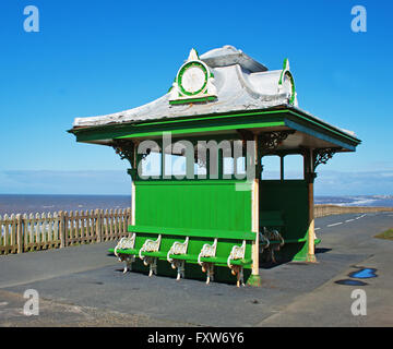 Victorian shelter on the promenade at Bispham, north of Blackpool - Stock Photo