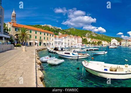 Scenic coast of town Hvar, Dalmatia, Croatia - Stock Photo