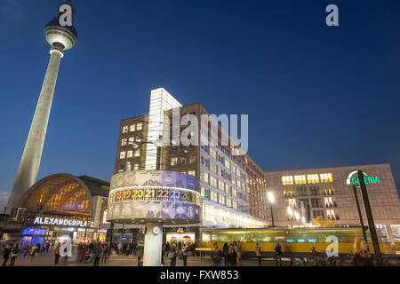 Alexanderplatz, World Clock, TV Tower, Geleria Kaufhof, Shopping, Berlin, Germany - Stock Photo