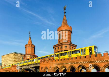 Oberbaum bridge, Friedrichshain, Kreuzberg, Berlin - Stock Photo