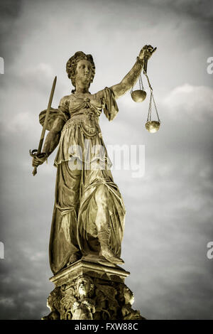 Justitia, The godness of Justice, Fountain of justice,  Roemerberg , Frankfurt Germany - Stock Photo