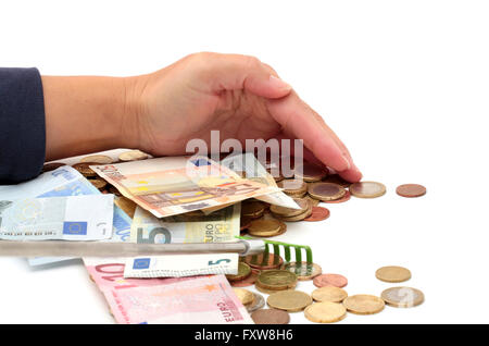 Hands grabbing money - Stock Photo
