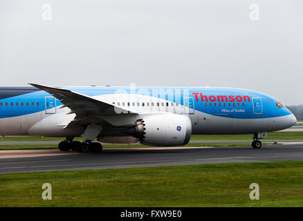 Thomson Airways Airline Boeing 787-8 Airliner G-TUIE Taxiing for Departure at Manchester International Airport England - Stock Photo