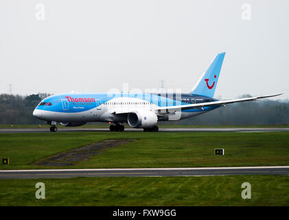 Thomson Airways Airline Boeing 787-8 Airliner G-TUIE Taking Off at Manchester International Airport England UK - Stock Photo
