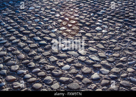 Cobbled stone road low angle, reflection of light seen on the road - Stock Photo
