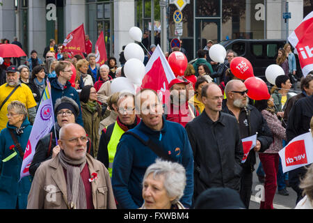 BERLIN - MAY 01, 2015: Members of trade unions, workers and employees at the demonstration on the occasion of Labour - Stock Photo