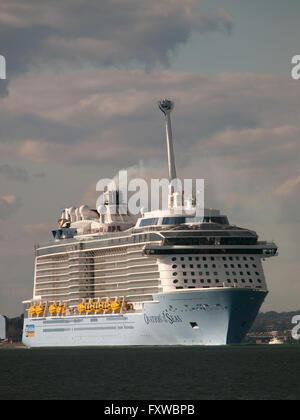 Cruise ship Ovation of the Seas leaving Southampton England UK - Stock Photo