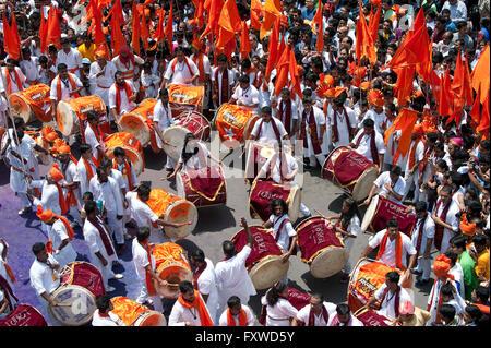 Band, Guddi Padwa Marathi New year procession - Stock Photo
