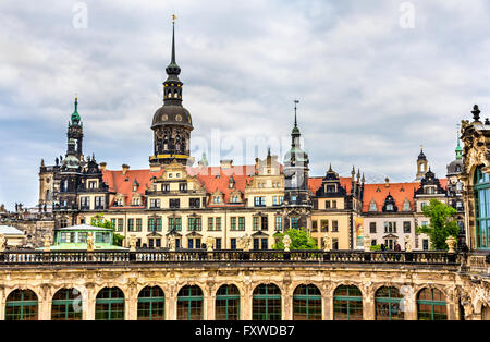 View of Dresden castle from Zwinger Palace - Stock Photo