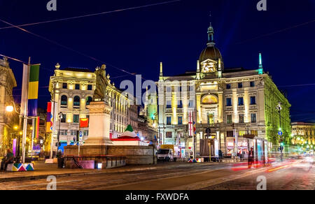 View of Piazza Cordusio in Milan, Italy - Stock Photo