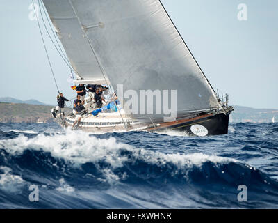 PORTO CERVO - 8 SEPTEMBER: team competing on Maxi Yacht Rolex Cup sail boat race in Sardinia, on September 8 2015 - Stock Photo