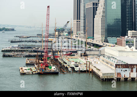 NEW YORK CITY, USA - JUNE 12, 2015: Construction site and pier on Hudson river, along the highway in New York City. - Stock Photo
