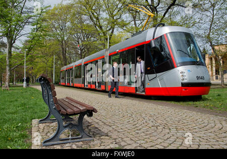 Prague, Czech Republic. 18th Apr, 2016. Presentation of upgraded 14T tram in Prague, Czech Republic, April 18, 2016. - Stock Photo