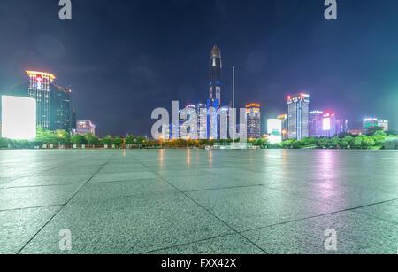 Shenzhen skyline at night - Stock Photo