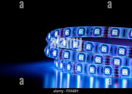 blue LED light strip rgb, close up - Stock Photo