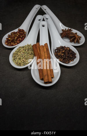 Five Spice with Cinnamon Stick Focus in front spoon - Stock Photo