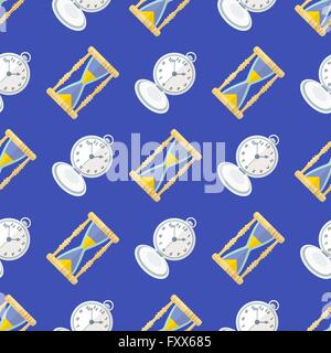 vector colorful flat design various clock sand watch retro pocket watches deco seamless pattern blue background - Stock Photo