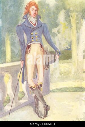 COSTUME: A Man of reign George IV 1820-1830, vintage print 1926 - Stock Photo
