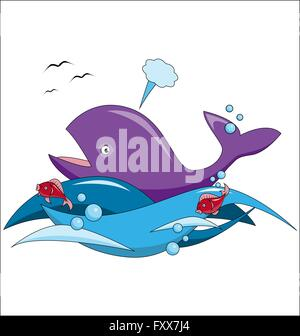 Cartoon whale and fish swim in the ocean. Vector illustration - Stock Photo