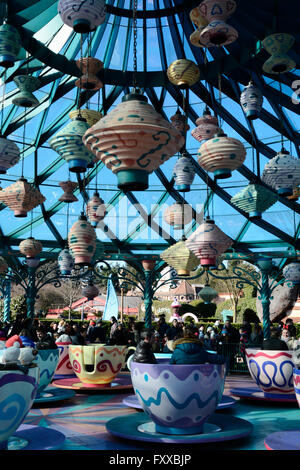 The Mad hatters tea cup ride at Disneyland Paris - Stock Photo