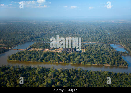 Moat around Angkor Wat, UNESCO World Heritage Site, Siem Reap, Cambodia - aerial - Stock Photo