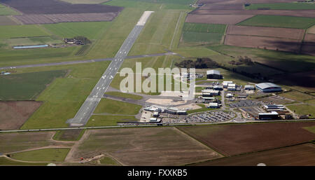 aerial view of Humberside Airport in North Lincolnshire, UK - Stock Photo