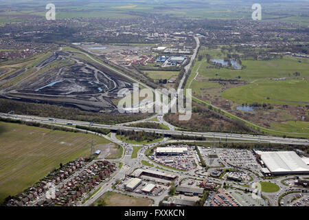 aerial view of junction 32 of the M62 at Glasshoughton looking south towards Pontefract, West Yorkshire, UK - Stock Photo