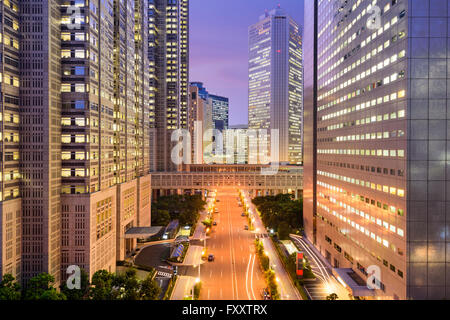 Tokyo, Japan government buildings at Tochomae in Shinjuku district. - Stock Photo