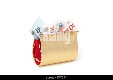 A golden wallet filled with ten and twenty euro notes - Stock Photo