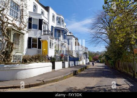 Elegant white fronted houses on Riverside Twickenham West London - Stock Photo