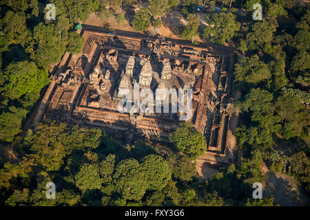 East Mebon temple ruins (dating from 953), Angkor World Heritage Site, Siem Reap, Cambodia - aerial - Stock Photo