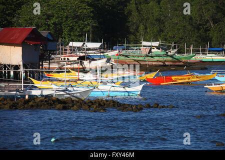 COLOURFUL JUKUNG FISHING BOATS PUERTO PRINCESA PHILIPPINES ASIA 23 April 2015 - Stock Photo