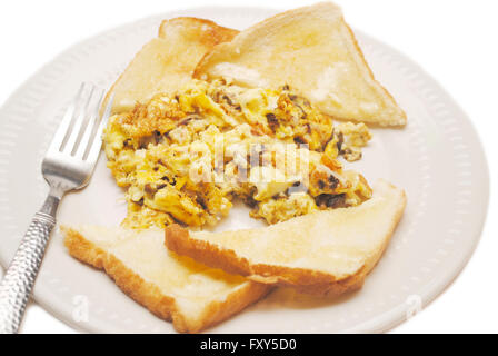Scrambled Eggs with Mushrooms & Onions Served with Toast - Stock Photo