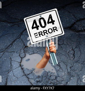 Error 404 page not found concept as an internet technology symbol of technical support for web page failure or search - Stock Photo