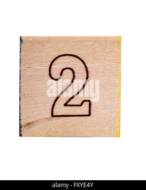 Wooden  alphabet block with number 2 isolated on white - Stock Photo