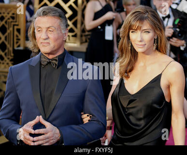 Sylvester Stallone and Jennifer Flavin at the 88th Annual Academy Awards held at the Dolby Theatre in Hollywood. - Stock Photo