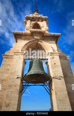 The Miguelete bell tower above Valencia Cathedral Spain - Stock Photo