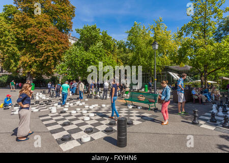 Board games at the Parc des Bastions, city center, Geneva, Canton of Geneva, Switzerland - Stock Photo