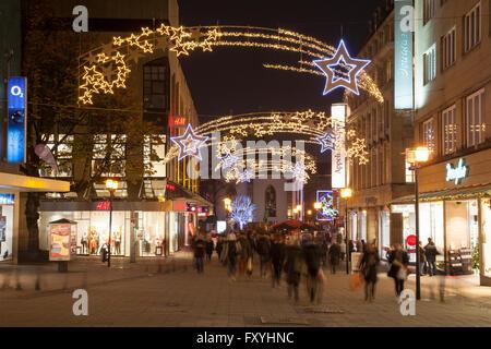 Pedestrianised shopping street Kettwiger Straße with Christmas lights, Essen, Ruhr Area, North Rhine-Westphalia, - Stock Photo