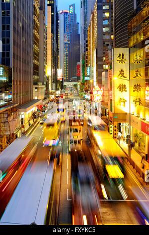 Des Voeux Road Central, Hong Kong Island, Hong Kong, China - Stock Photo