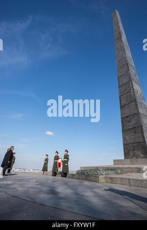 Polish president Bronislaw Komorowski in front of Glory Obelisk of Glory Park in Kiev, Ukraine during visit on 8th - Stock Photo