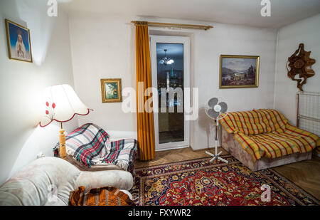 Interior of the efficiency apartment decorated in the late eighties and nineties in Warsaw, Poland - Stock Photo