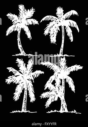 set of palm tree Tropical palm trees, black silhouettes background - Stock Photo