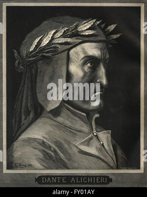 Dante Alighieri 1265-1321 portrait by Gustave Dore - Stock Photo