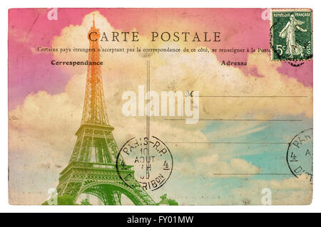 Vintage styled french postcard Eiffel Tower Paris. Retro toned paper background - Stock Photo