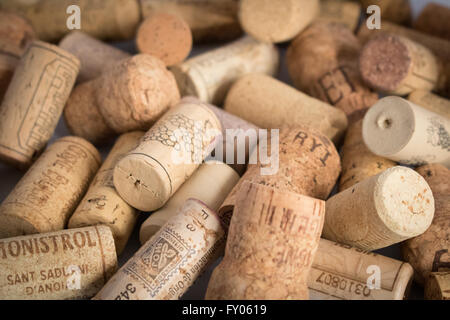 Close up assorted corks from wine and Champagne bottles - Stock Photo