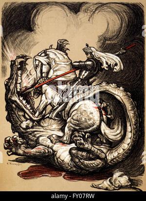 An illustration of St George on horseback, slaying the dragon. Artist, Edward Kaempster,  1914 - Stock Photo