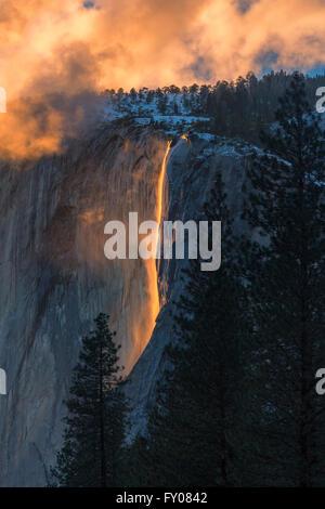 Horsetail Fall in Yosemite National Park - Stock Photo